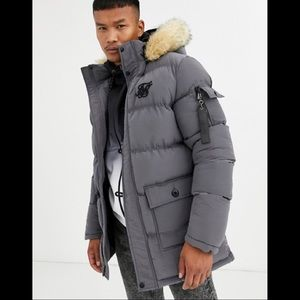 SikSilk by Asos puffer parka jacket with faux fur